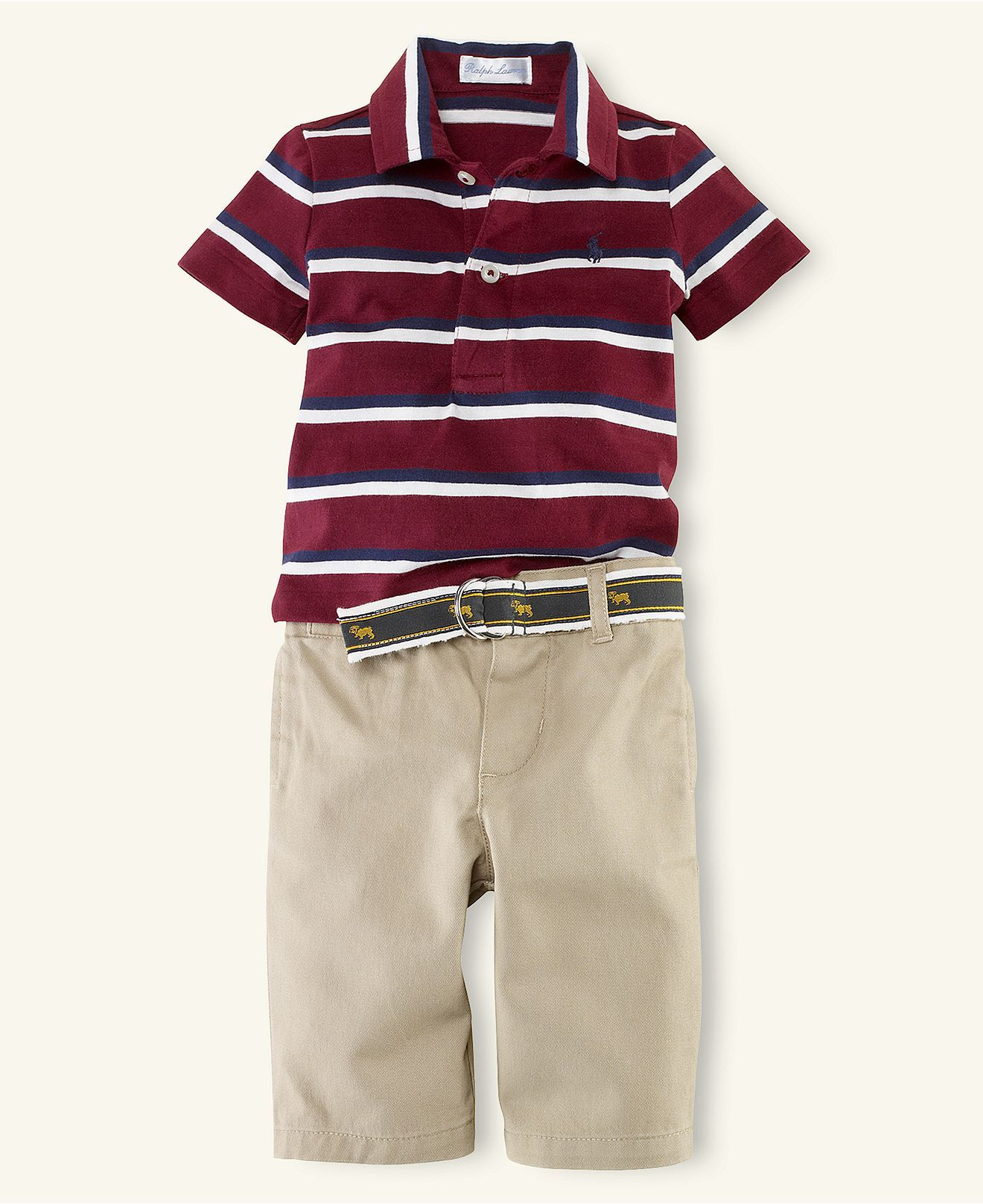 Ralph Lauren Baby Set Baby Boys Striped Polo And Chino Pants