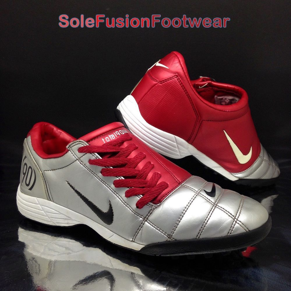 81476429b Nike Mens TOTAL 90 Football Trainers Red Silver sz 10 Rare Soccer Shoes US  11 45