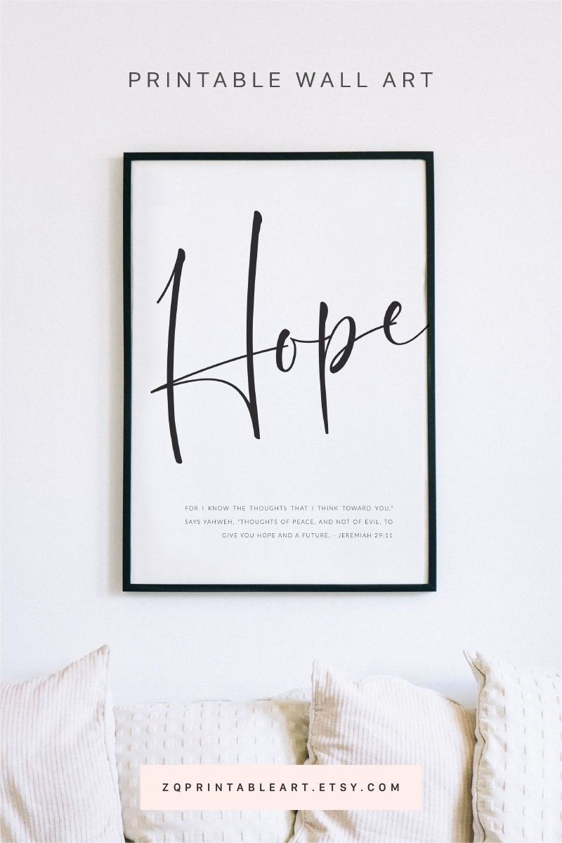 Jeremiah 29 11 Hope And A Future Scripture Print Bible Verse Quote Poster Wall Art Modern Black And White Christian Encouragement Gift Scripture Print Bible Verse Wall Art Bible Verse Prints