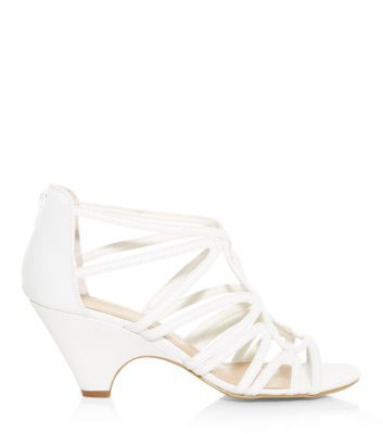 cc71ff890f33 White Strappy Cut Out Low Heel Peeptoe Sandals NEW LOOK £17.99 ...