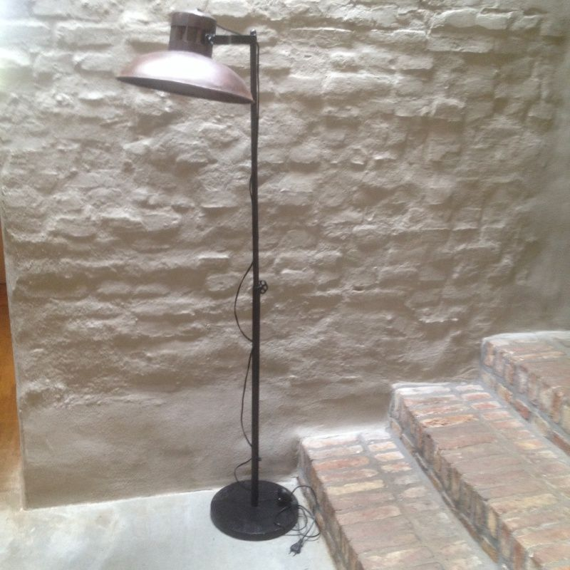 Stoere vloerlamp staande lamp bruin industrieel landelijk for Lamp industrieel