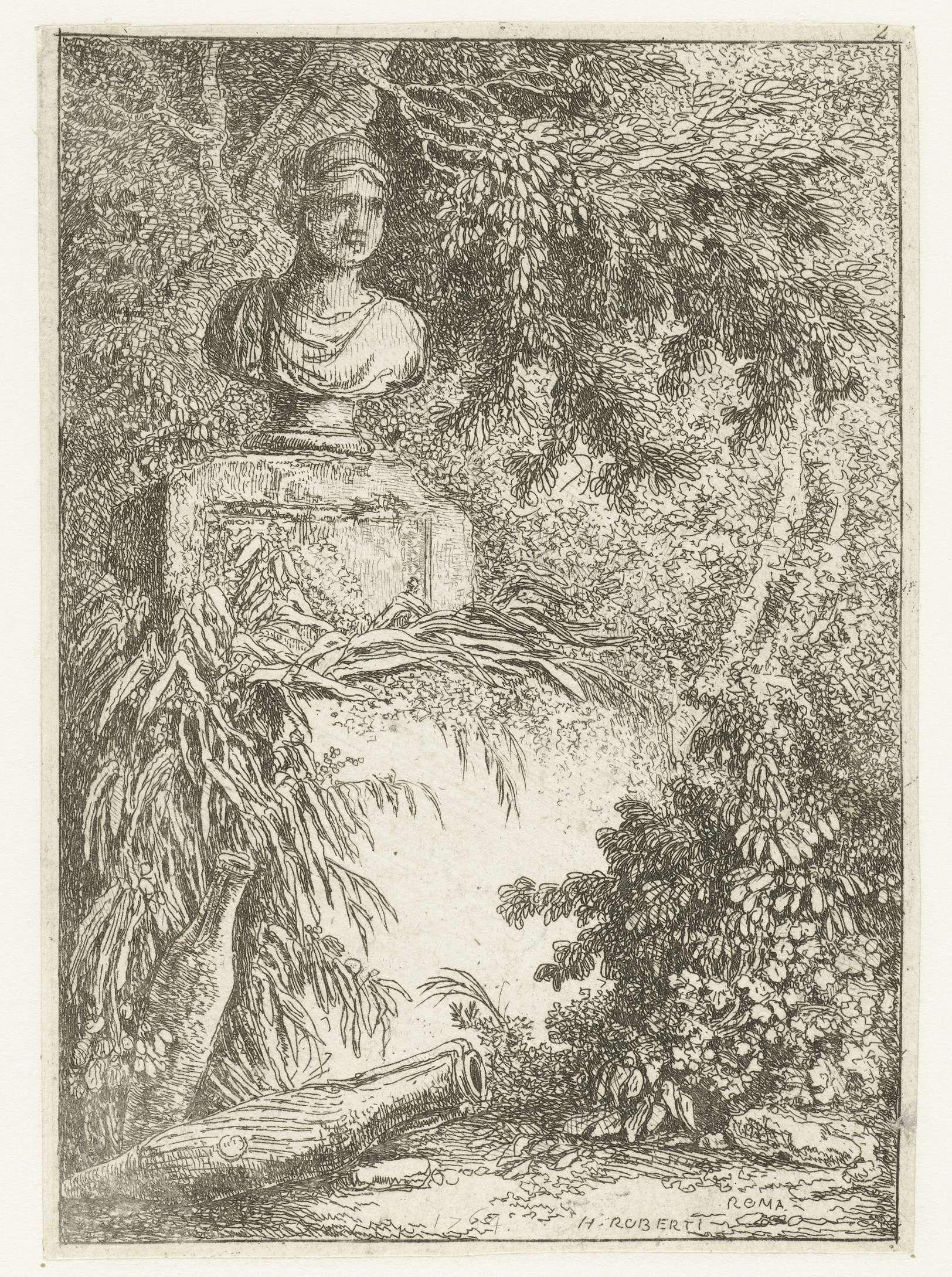 Hubert Robert | Buste, Hubert Robert, 1764 | Een klassiek borstbeeld, staand op een met planten overgroeide sokkel. Aan de voet twee amfora's. Tweede prent uit en serie van tien.