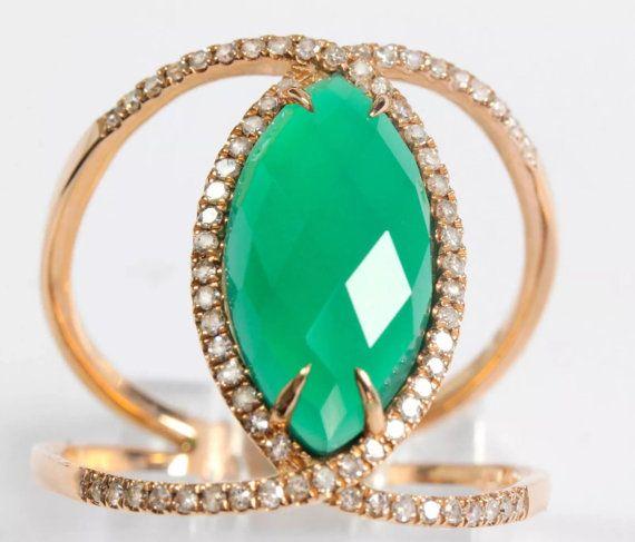 Marquise cut Green Agate