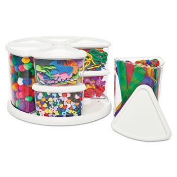 9 Canister Carousel Organizer, Plastic, 11 1/8 X 11 1/8, White/clear
