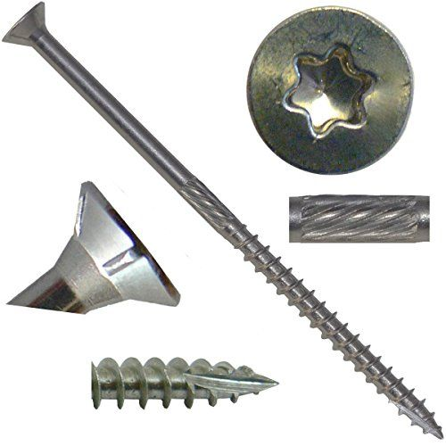 10 X 3 1 2 Quot Silver Star Stainless Steel Flat Head Wood Screw Torx Star Drive Head 1 Pound 305 Stainless Steel Torx Star Drive Wood Screws 64 Screws