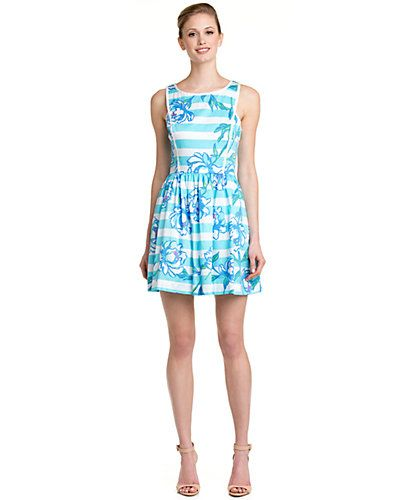 """Some of you have to get in on this: Lilly Pulitzer """"Sandrine"""" Shorely Blue Tossing The Line Dress"""