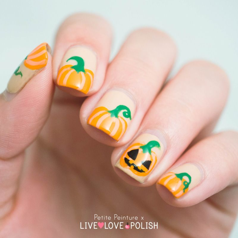 Halloween Pumpkin Nail Art Tutorial with Petite Peinture - Halloween Pumpkin Nail Art Tutorial With Petite Peinture Pumpkin