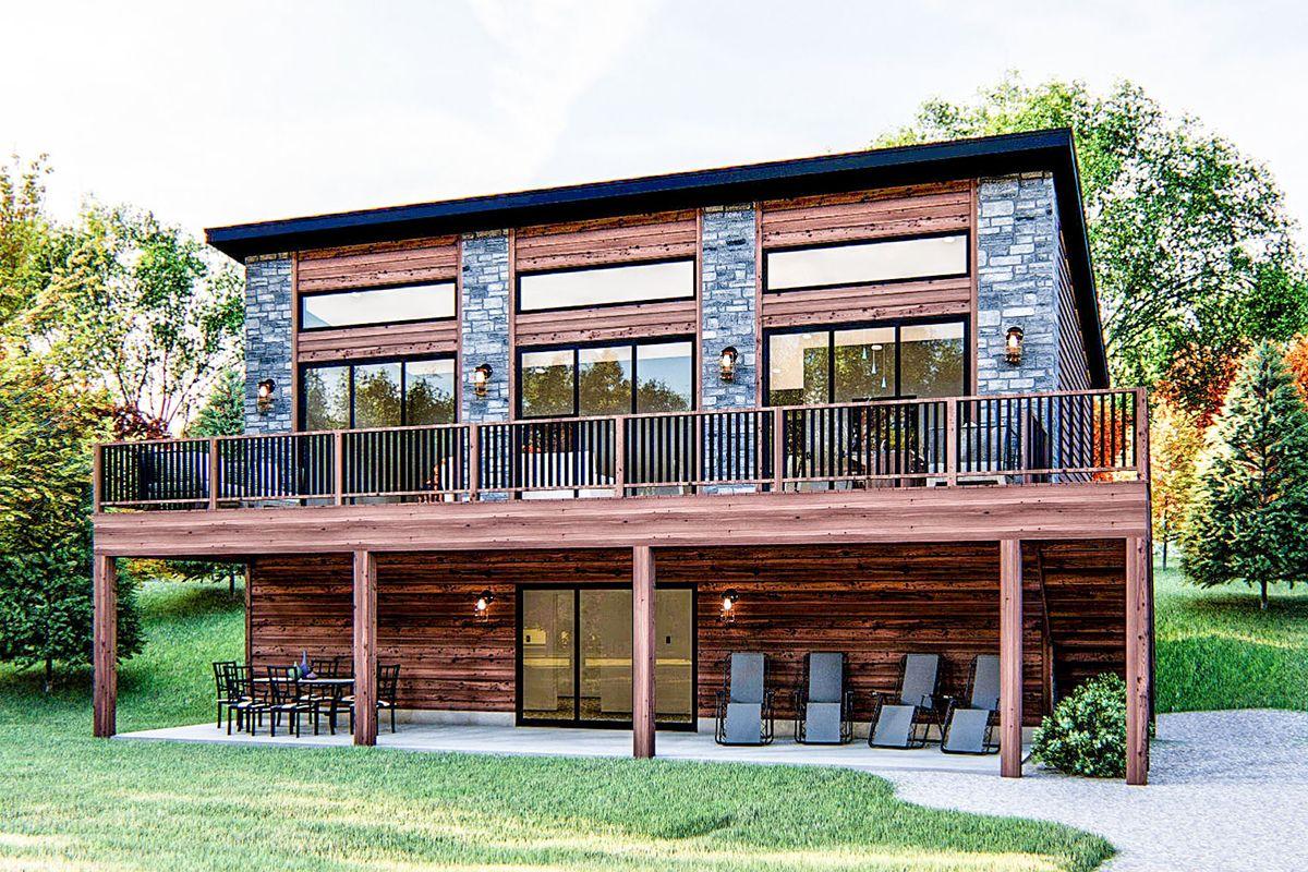 Plan 62845dj Modern Cabin Getaway In 2021 Modern Lake House Lake Front House Plans Small Lake Houses