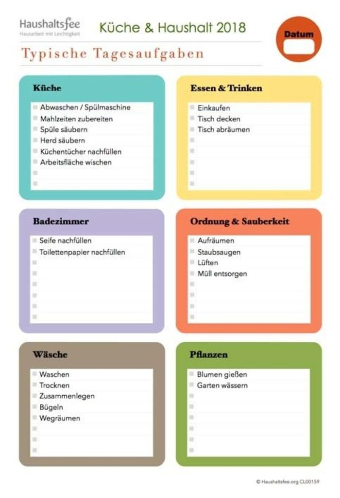 Tägliche Aufgaben im Haushalt, Tagesplan Putzen | Pläne | Pinterest ...