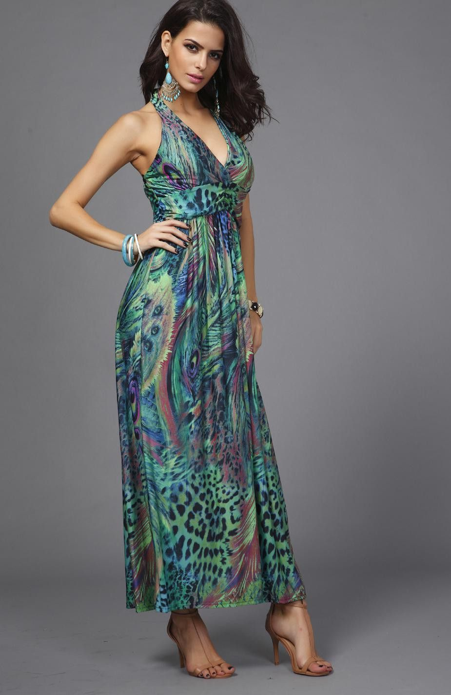 Milk Silk Chiffon Dresses Slim Waist Halter V-neck Peacock Printing Colorful Bohemia Sleeveless Long Beach Dress