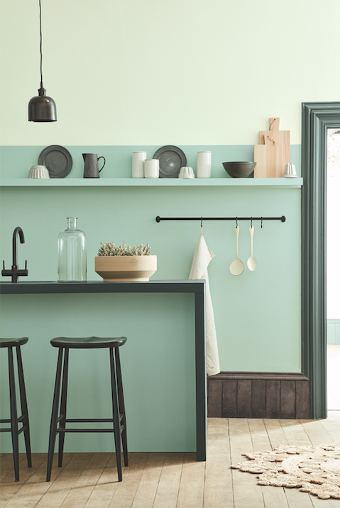 Attirant The Best Paint Colours And British Designer Paint Brands To Use In Your  Home   This Beautiful Painted Kitchen In Soft Shades Of Aquamarine Blue Is  Modern ...