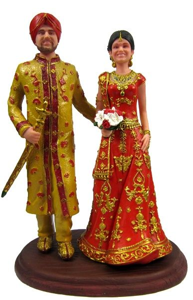 Indian Wedding Cake Topper Customized To Your Face