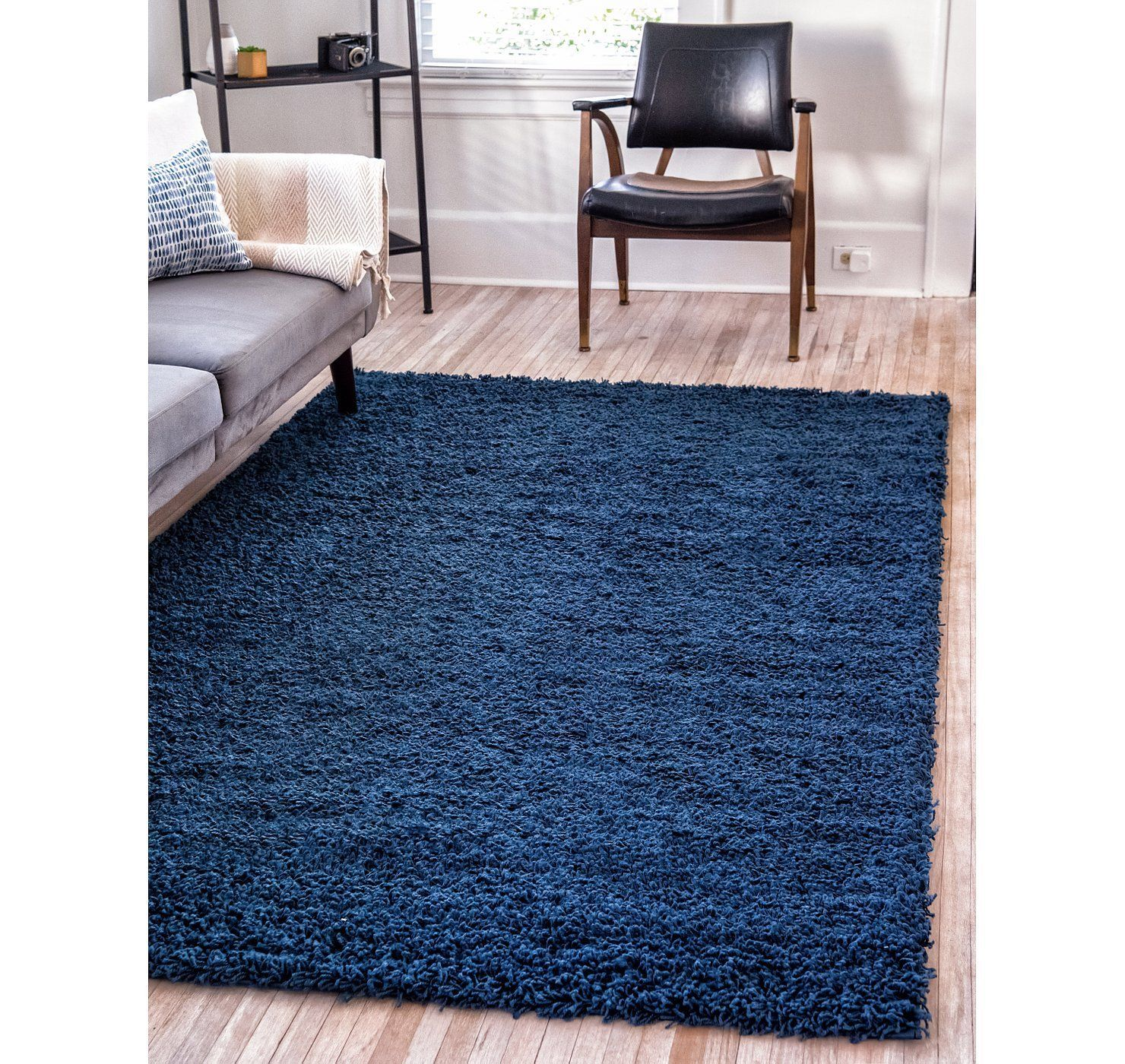 7 X 10 Solid Shag Rug Dark Blue Rug Rugs In Living Room Blue Rug