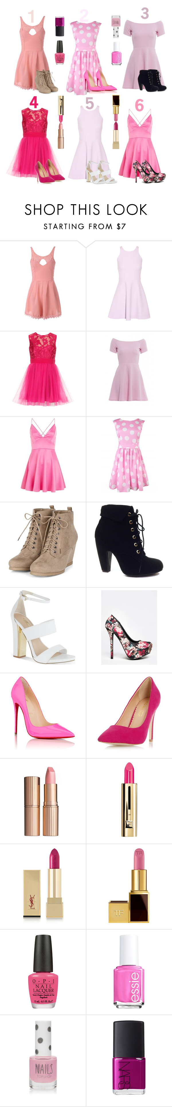 """""""Pink Outfits:Which one is the best?"""" by mysecretismine ❤ liked on Polyvore featuring Elizabeth and James, AX Paris, Bamboo, Carvela, Qupid, Christian Louboutin, Dorothy Perkins, Charlotte Tilbury, Guerlain and Yves Saint Laurent"""