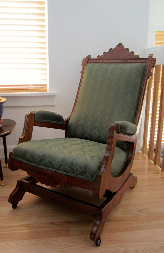 EASTLAKE ROCKING CHAIR: 1860's Walnut, Expertly Reupholstered, SHIPPING  INCLUDED #Victorian #Eastlake - EASTLAKE ROCKING CHAIR: 1860's Walnut, Expertly Reupholstered