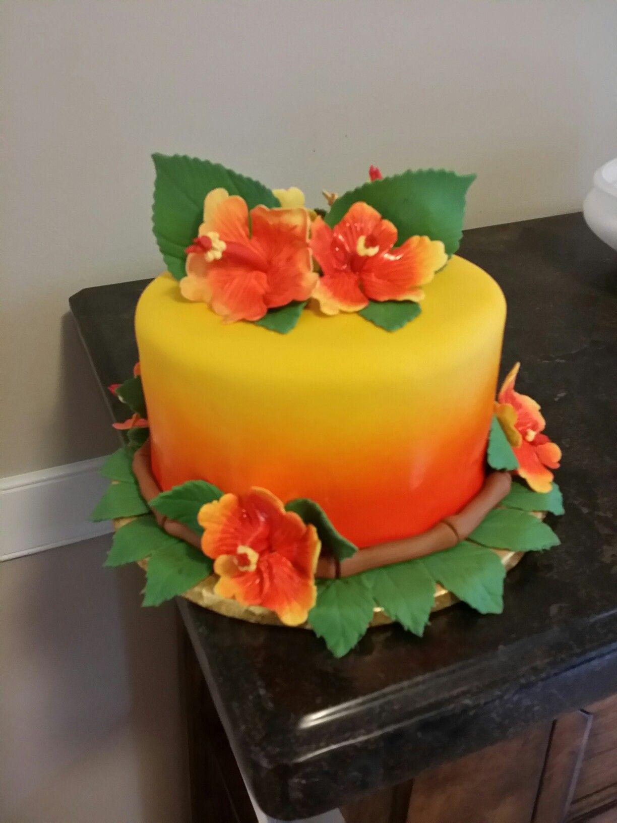 Luau Themed Cake Hibiscus Flower Cake Hawaiian Cake Hawaiian Theme Cakes Themed Cakes