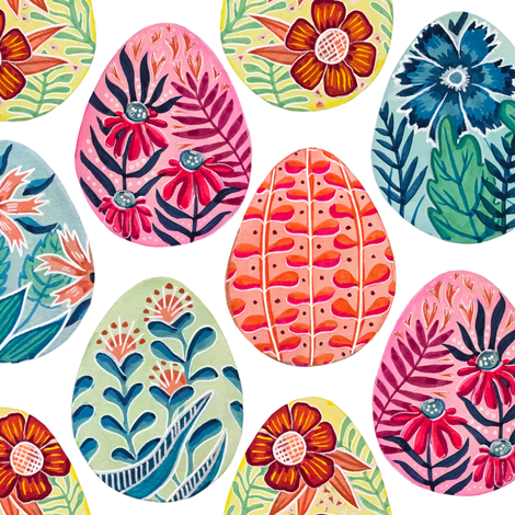 Colorful fabrics digitally printed by Spoonflower - Large Scale Watercolor and Gouache Easter Eggs