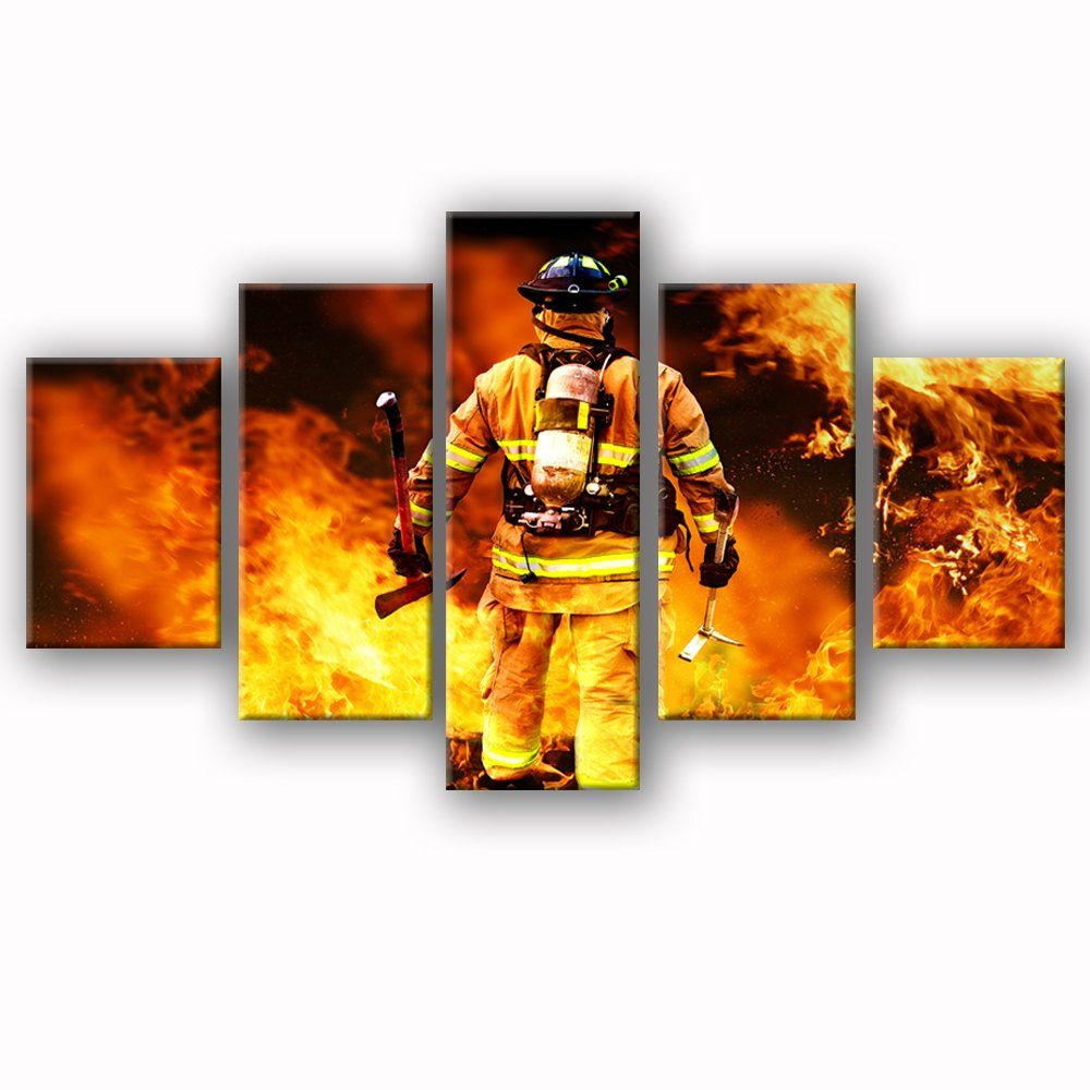 Firefighters Wall Art Canvas Prints Art Home Decor For Living Room Modern Pictures Pictures 5 Panel Large Posters Hd Painting Canvas Art Prints Modern Pictures