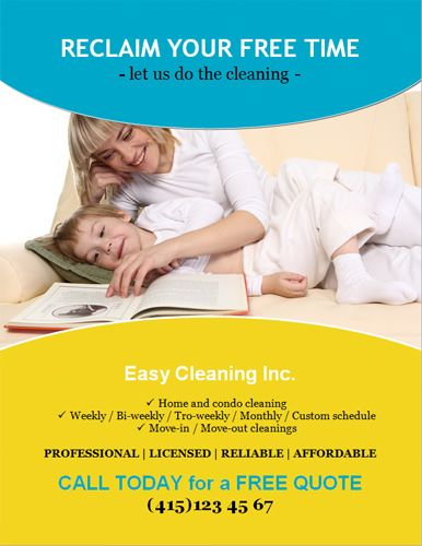 Reclaim-your-free-time-flyer Cleaning Pinterest Free time - house cleaning flyer template