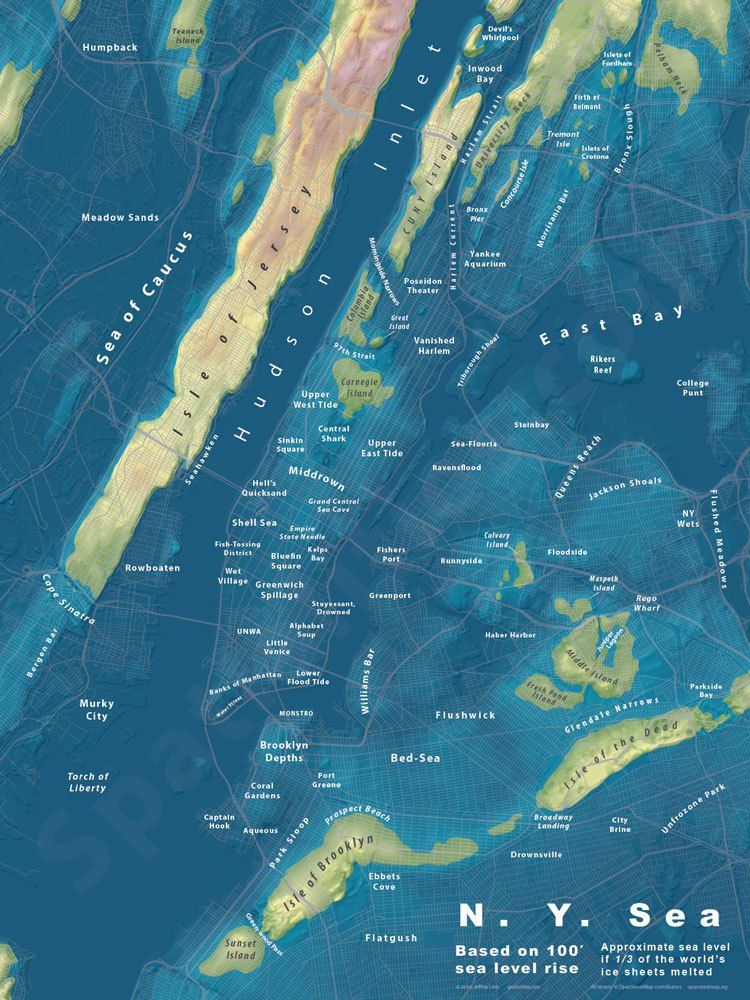 The N.Y. Sea Designer and urban planner Jeffrey Linn has created a fascinating map series that depicts cities as they may appear if sea level rose significantly. Some of the maps also include modif...