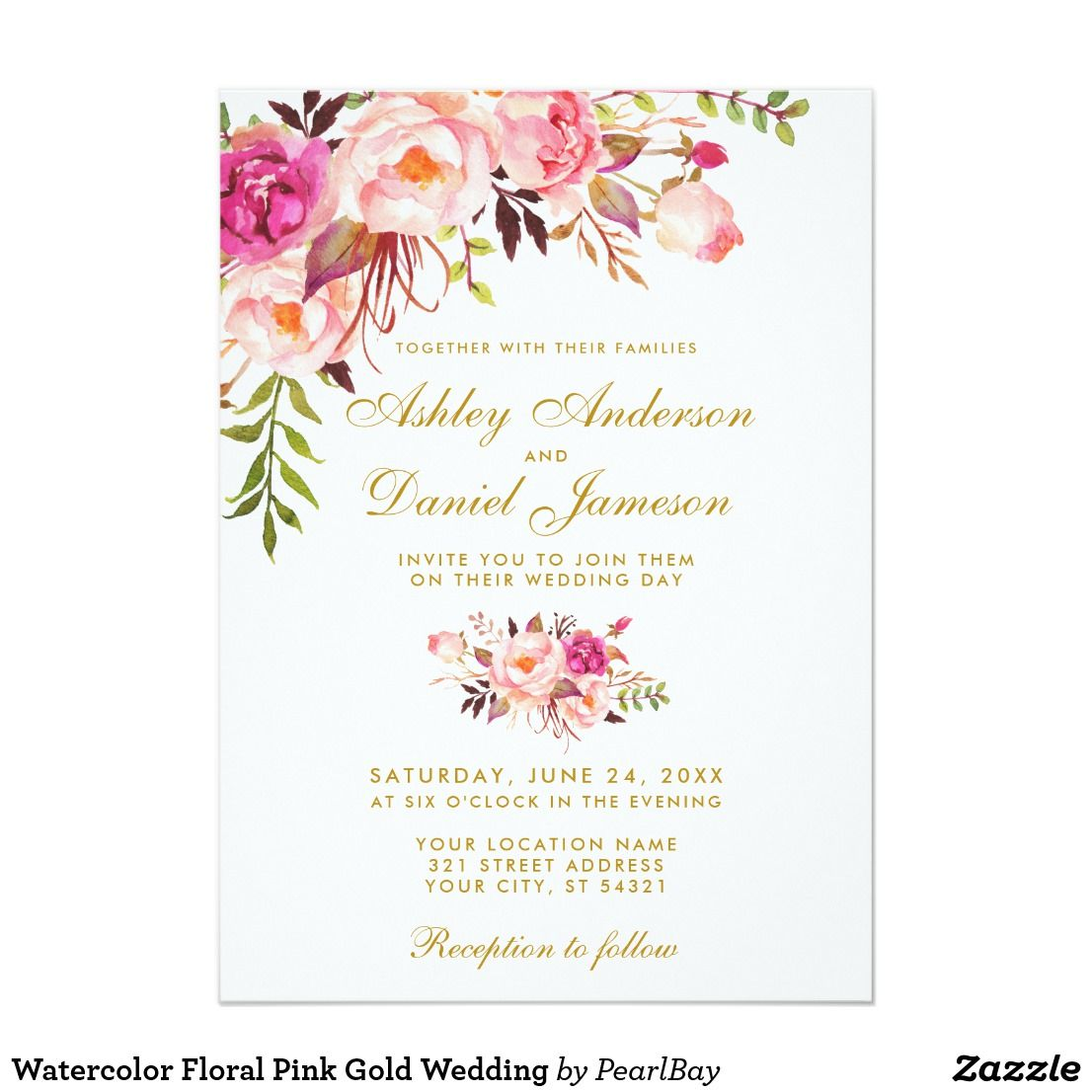 Watercolor Floral Pink Gold Wedding Invitation Zazzle Com