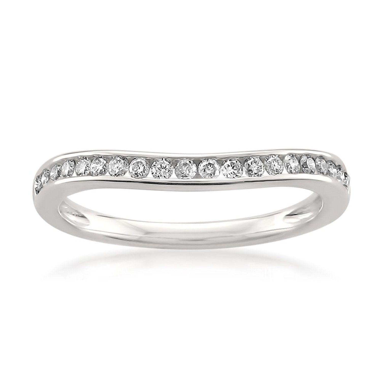 14k white gold round diamond curved bridal wedding band