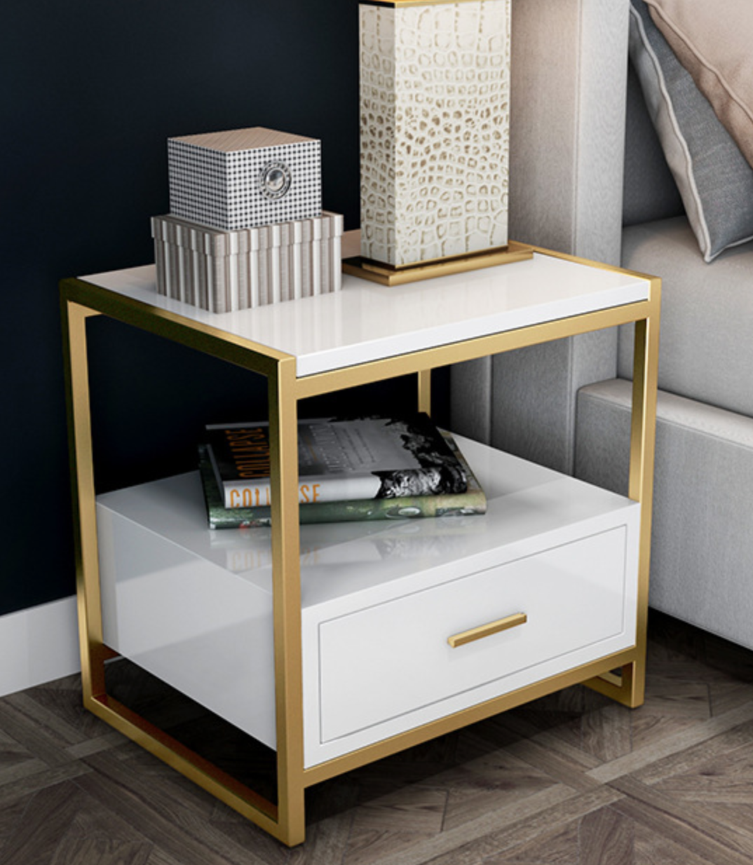 Darli Bedside Cabinet Chic Bedside Table White Bedside Table Chesterfield Sofa Living Room