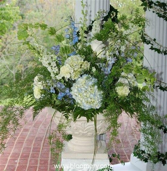 Hydrangeas Delphinium Bells Of Ireland Asparagus Fern Asparagus Fern Outdoor Planters Container Flowers