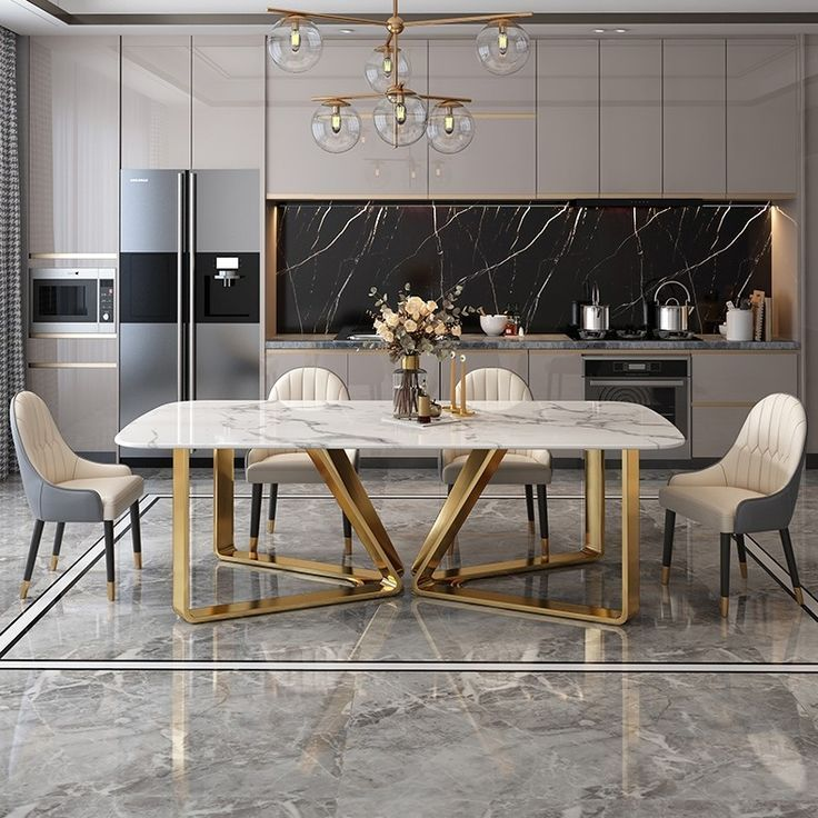 Modern Rectangle 63 In 2021 Dining Room Design Modern Dining Table Marble Modern Kitchen Design
