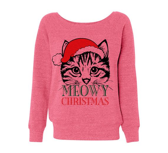Kitten Christmas Sweater.Pink Wideneck Meowy Christmas Merry Cat Kitten Ugly