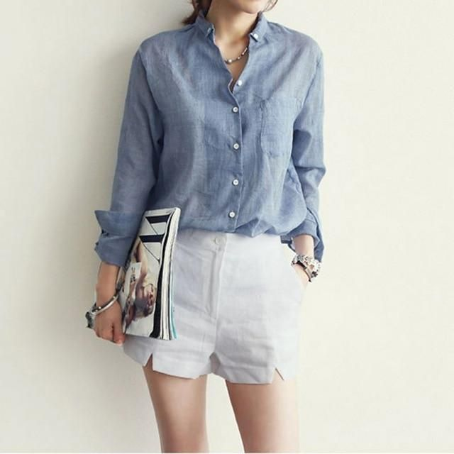 Vetement Femme Long Sleeve Shirt Women Tops Women Blouses Linen Cotton White Blouse Blusas Blue M