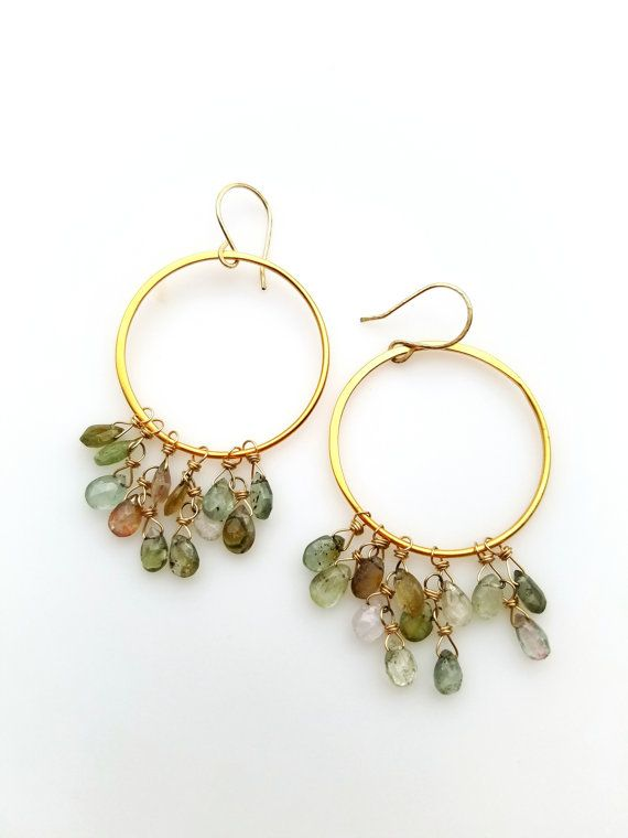 Dangle Hoop Earrings Gold Wire Wrap Gemstone Hoop Earrings