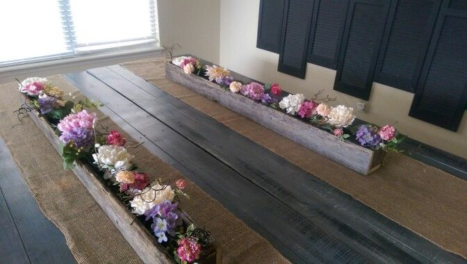 Hobby Lobby spring flower garland centerpiece in a rustic