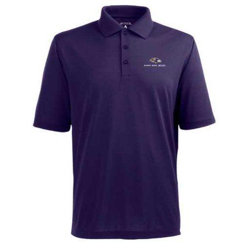 Baltimore Ravens 2013 Super Bowl Polo Shirt - NFL Antigua Mens Pique Xtra- Lite Dark