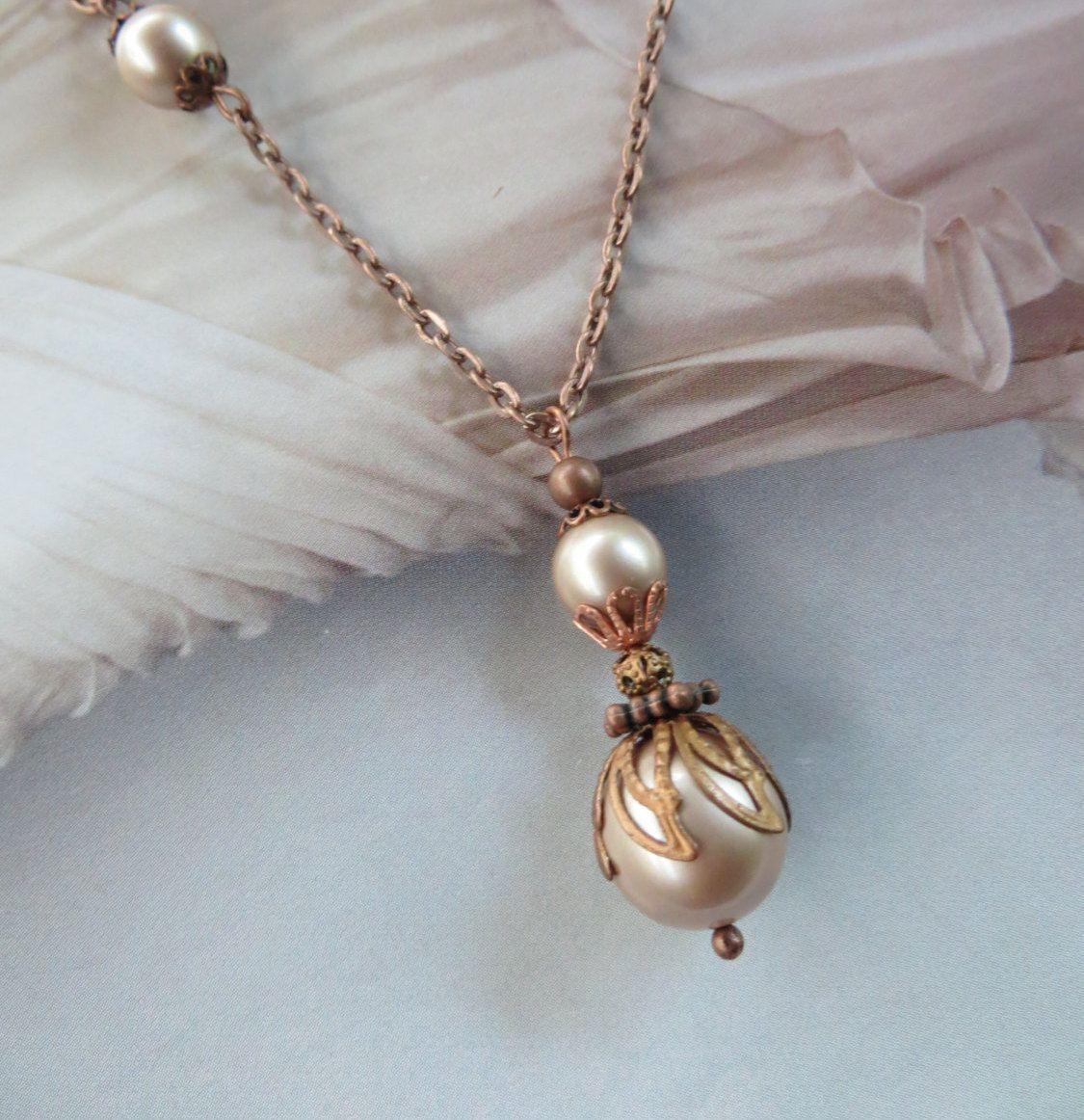 Vintage Pearl Necklace Copper
