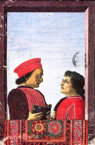 Cristoforo Landino (o baixinho) ao lado de Federico Monteferro