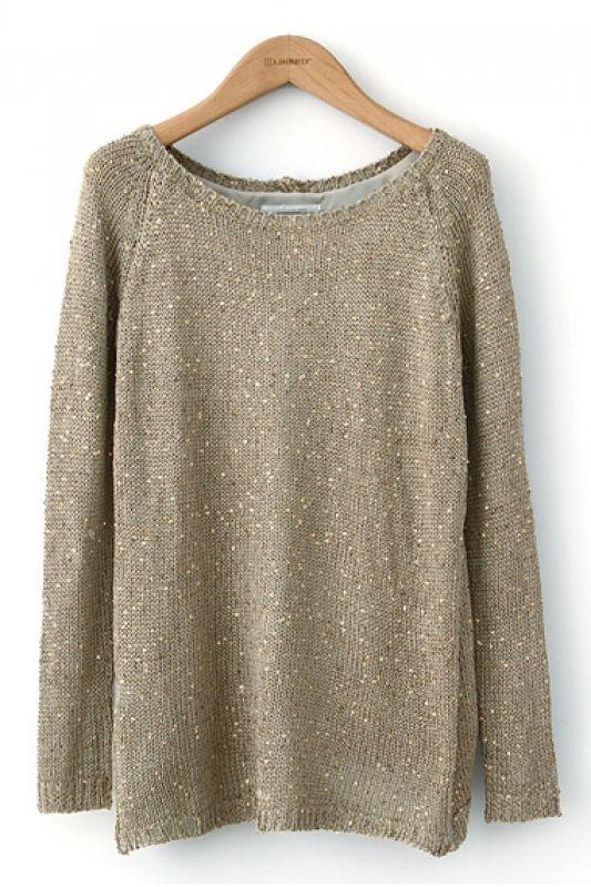 Light Gold Sparkle Sweater! Love this Color! O-neck Pailette ...