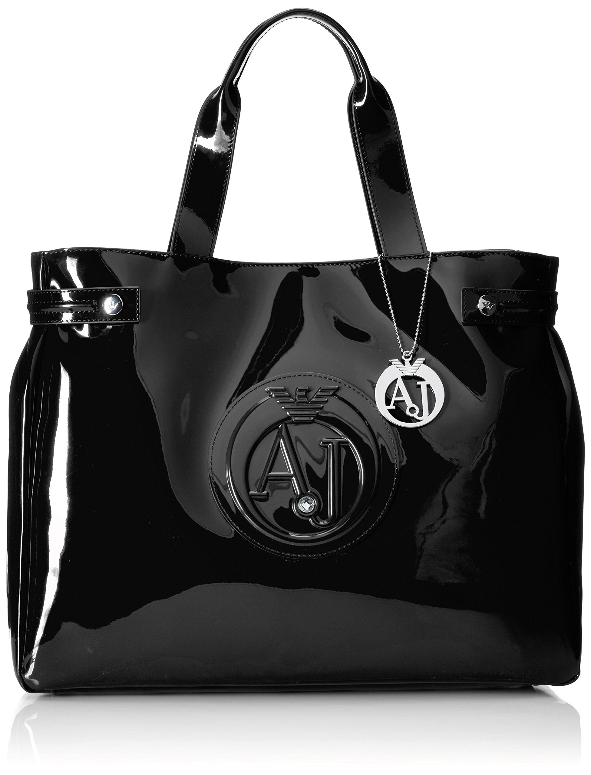 Armani Jeans 55 Crystal Patent Tote Bag, Black, One Size