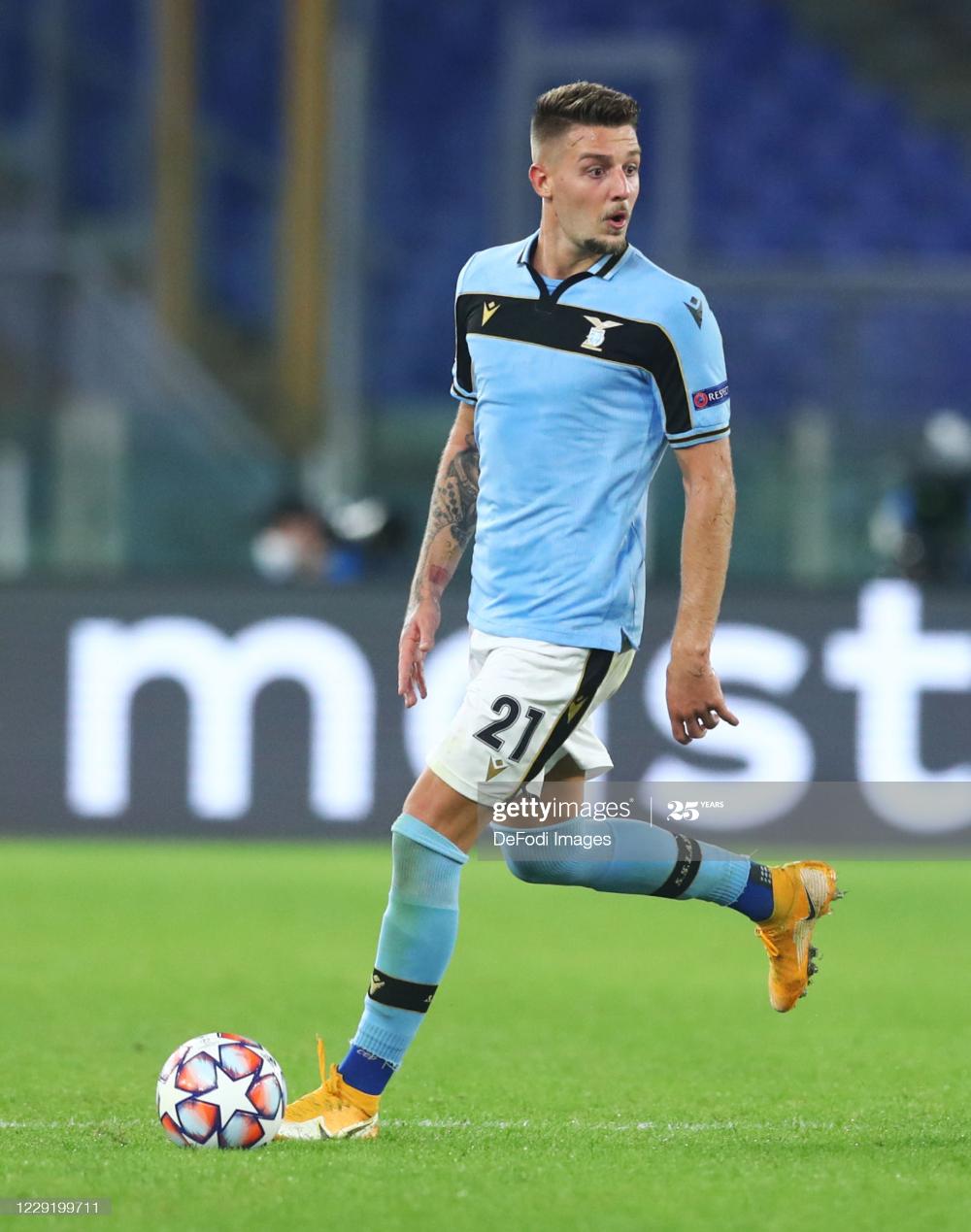News Photo : Sergej Milinkovic-Savic of Lazio Rom controls the...