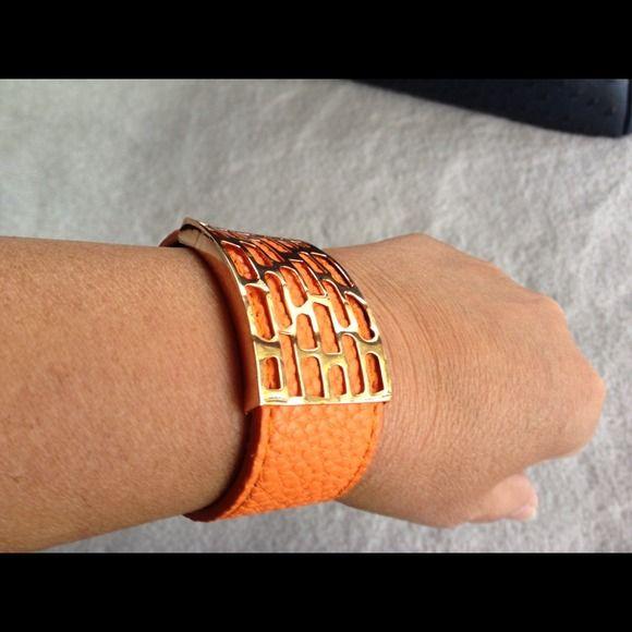 "Selling this "" Orange cuff bracelet with unique design"" in my Poshmark closet! My username is: bikerchick64. #shopmycloset #poshmark #fashion #shopping #style #forsale #Accessories"