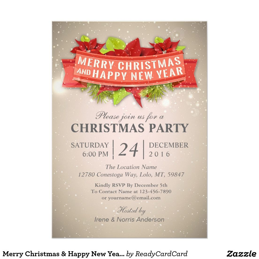 Merry Christmas & Happy New Year Party Invitation | ❤❄Merry ...