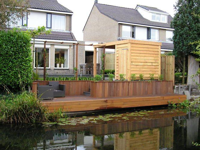 Veranda naast zitje aan het water tuin pinterest for Spiegelvijver bak