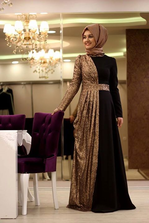 Photo of double color hijab evening dresses