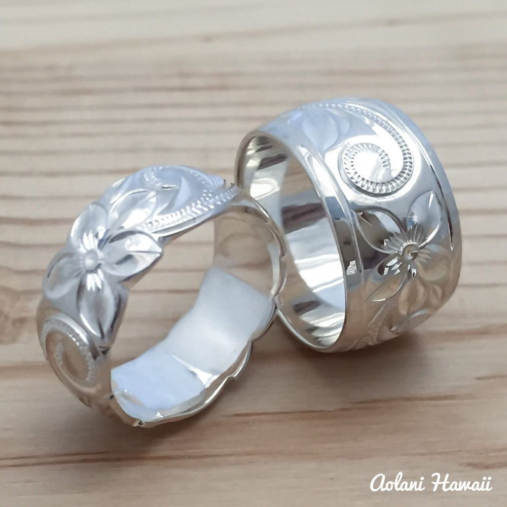 Traditional hawaiian wedding dress  Set of Traditional Hawaiian Hand Engraved Sterling Silver Rings