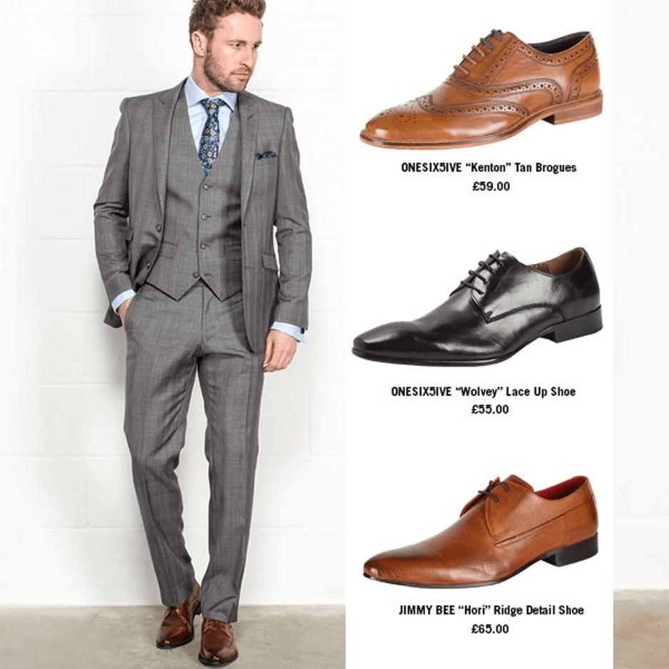 Grey suit brown shoes