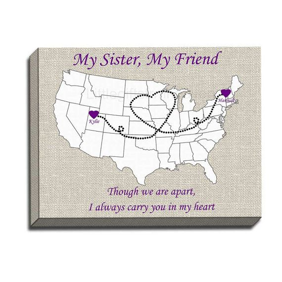 My Sister My Friend Canvas Gallery Wrap Us States Map