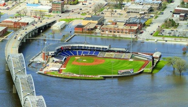 Modern Woodmen Park Sits High And Dry Sat April 23 2011 During Crest Day Of Flood Flood Quad Cities Aerial