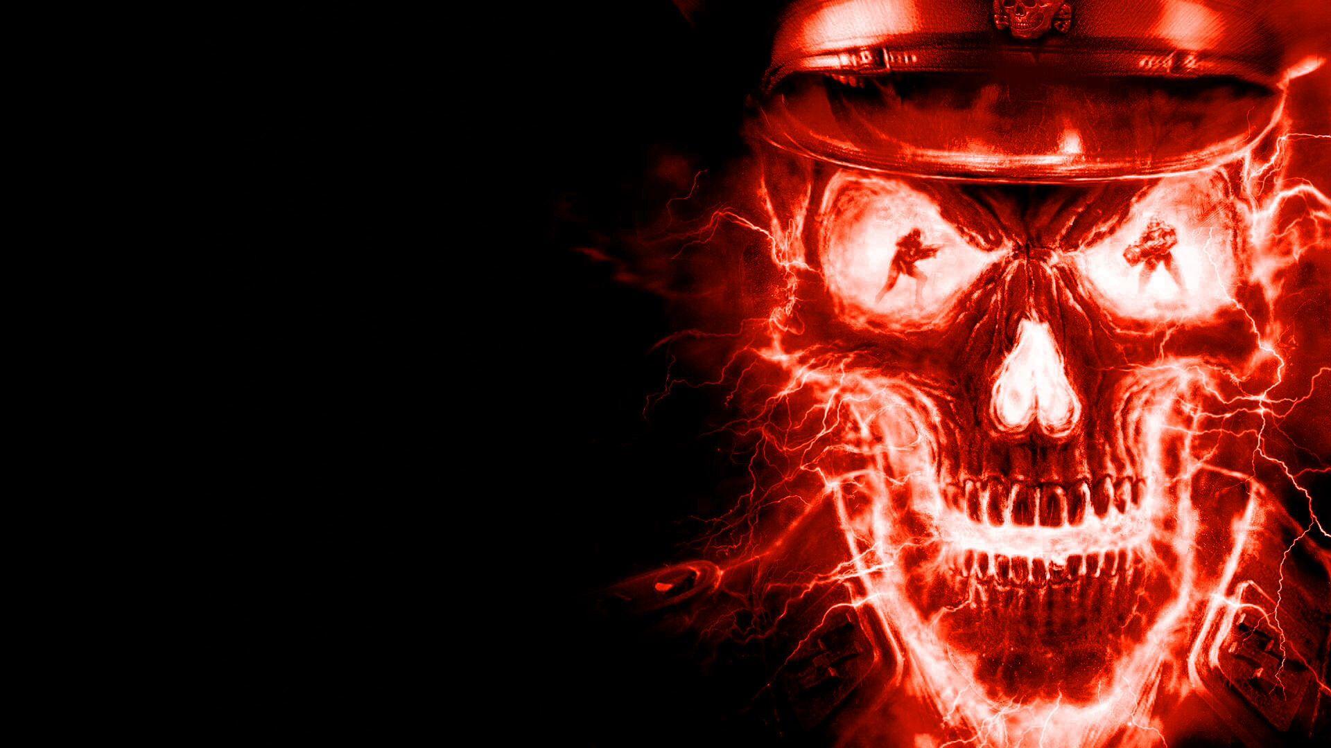 Wolfenstein Skull Red Version Skull Wallpaper Black Skulls Wallpaper Fire Art