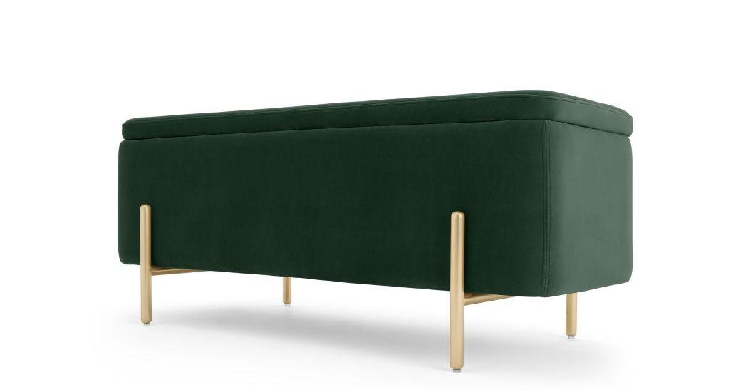 Asare, banc coffre de rangement tapissé, vert sapin et laiton   Upholstered storage bench ...