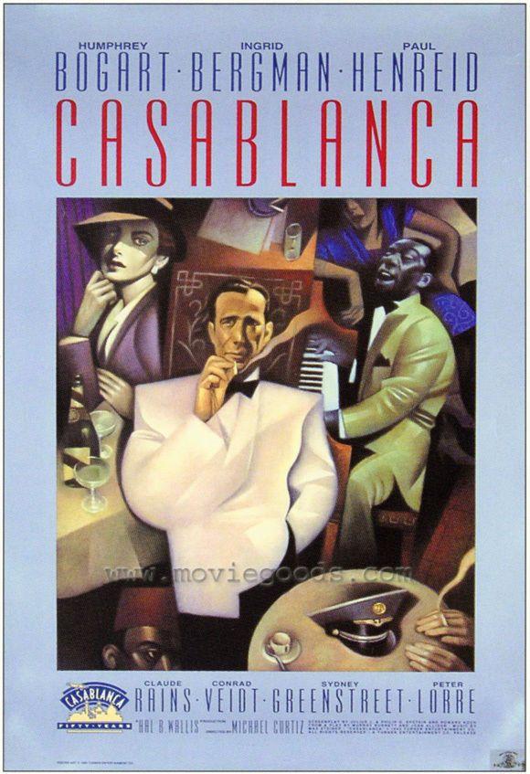 Casablanca Movie Poster 27x40 D Humphrey Bogart Ingrid Bergman Paul Henreid Casablanca Movie Bogart Movies Old Movie Posters